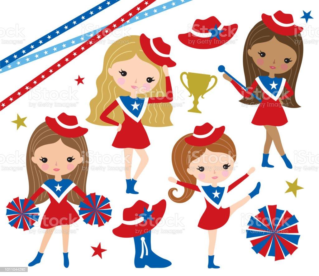 Drill Team Cheerleader Girl Vector Illustration vector art illustration