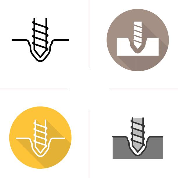 Drilling icons Drilling flat design, linear and color icons set. Rotating mining drill bit drill bit stock illustrations