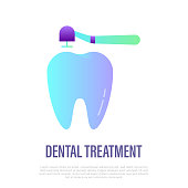 Drilling of tooth for filling, dental treatment, dentistry. Flat gradient icon, vector illustration.