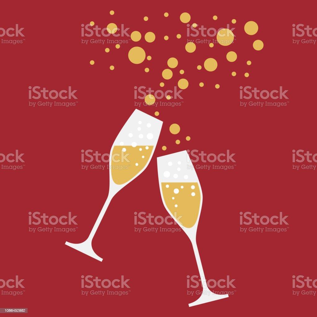 Trinken Sie einen Toast auf die Party Silvester Abendessen, Vektor-Hintergrund - Lizenzfrei Bedecken Vektorgrafik