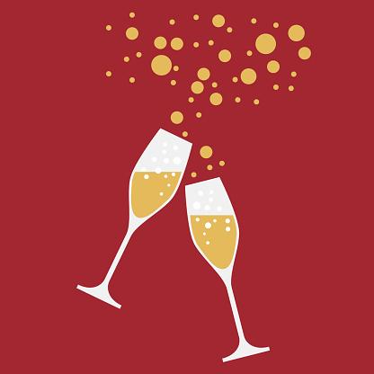 Trinken Sie Einen Toast Auf Die Party Silvester Abendessen Vektorhintergrund Stock Vektor Art und mehr Bilder von Bedecken