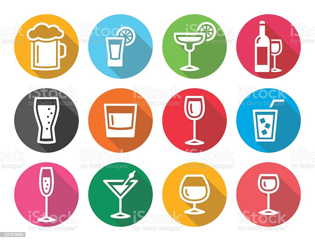 Drink alcohol beverage round flat design icons set vector art illustration