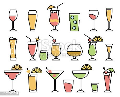 Vector illustration of the drinks and alcohol drinks icons