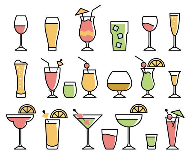 напиток и набор значков алкоголя - напиток stock illustrations