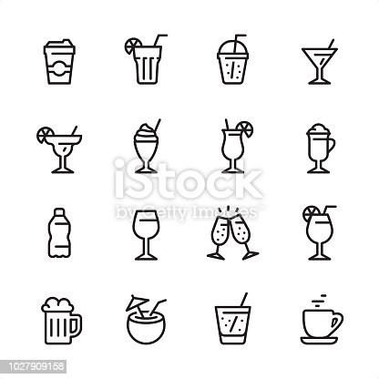 16 line black on white icons / Set #64 / Drink & Alcohol / Pixel Perfect Principle - all the icons are designed in 48x48pх square, outline stroke 2px.  First row of outline icons contains:  Take Out Coffee Paper Cup, Mojito (Drinking Glass Cocktail), Take Out Lemonade, Martini Glass;  Second row contains:  Margarita Drinking Glass, Milkshake, Tropical Cocktail, Latte;  Third row contains:  Water Bottle, Wine glass, Champagne Glasses, Aperol Spritz Cocktail;   Fourth row contains:  Beer - Alcohol, Coconut Cocktail, Soda Glass (Lemonade), Coffee, Tea Cup.  Complete Inlinico collection - https://www.istockphoto.com/collaboration/boards/2MS6Qck-_UuiVTh288h3fQ