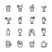 16 line black on white icons / Set #64 / Drink & Alcohol / Pixel Perfect Principle - all the icons are designed in 48x48pх square, outline stroke 2px.  First row of outline icons contains:  Take Out Coffee Paper Cup, Mojito (Drinking Glass Cocktail), Take Out Lemonade, Martini Glass;  Second row contains:  Margarita Drinking Glass, Milkshake, Tropical Cocktail, Latte;  Third row contains:  Water Bottle, Wine glass, Champagne Glasses, Spritz Cocktail;   Fourth row contains:  Beer - Alcohol, Coconut Cocktail, Soda Glass (Lemonade), Coffee, Tea Cup.  Complete Inlinico collection - https://www.istockphoto.com/collaboration/boards/2MS6Qck-_UuiVTh288h3fQ