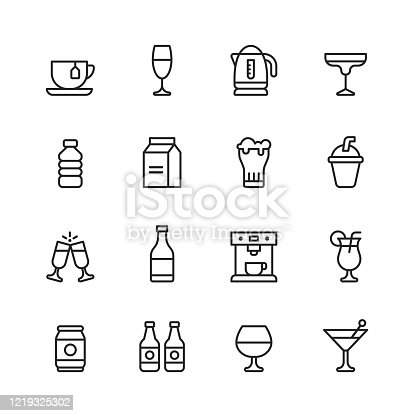 16 Drink and Alcohol Outline Icons.