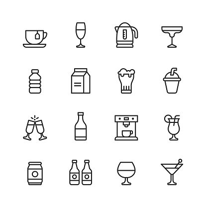 Drink and Alcohol Line Icons. Editable Stroke. Pixel Perfect. For Mobile and Web. Contains such icons as Tea, Wine, Cocktail, Water, Milk, Beer, Milkshake, Champagne, Coffee Machine, Beach drink, Beer Can.