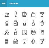 20 Drink and Alcohol Outline Icons. Coffee, Wine, Coffee Cup, Soda Can, Water, Soft Drink, Whiskey, Exotic Drink, Margarita, Milk, Vodka, Ice, Teapot, Tea, Beer, Juice, Champagne, Bottle, Cocktail, Coffee Machine, Beer Can, Smoothie, Mojito, Milkshake, Nightlife, Party.
