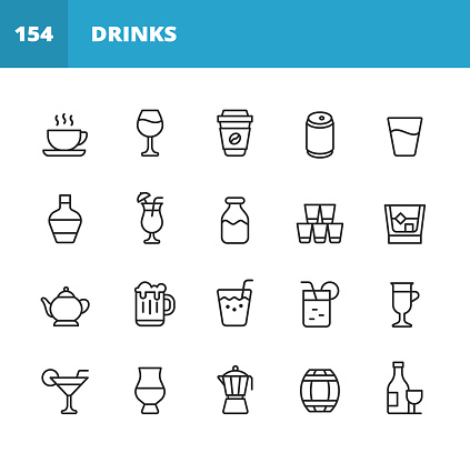 Drink and Alcohol Line Icons. Editable Stroke. Pixel Perfect. For Mobile and Web. Contains such icons as Coffee, Wine, Coffee Cup, Water, Champagne, Milk, Whiskey, Teapot, Beer, Juice, Champagne Bottle, Margarita, Alcohol, Drink.