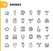 30 Drink and Alcohol Outline Icons. Coffee, Wine, Coffee Cup, Soda Can, Water, Soft Drink, Whiskey, Exotic Drink, Margarita, Milk, Vodka, Ice, Teapot, Tea, Beer, Juice, Champagne, Bottle, Cocktail, Coffee Machine, Beer Can, Smoothie, Mojito, Milkshake, Nightlife, Party.