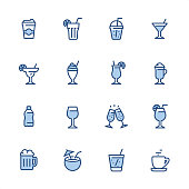 16 indigo and blue Drink & Alcohol icon set #52 Pixel perfect icon 48x48 pх, outline stroke 2 px.  First row of  icons contains: Take Out Coffee Paper Cup, Mojito (Drinking Glass Cocktail), Take Out Lemonade, Martini Glass;  Second row contains:  Margarita Drinking Glass, Milkshake, Tropical Cocktail, Latte;  Third row contains:  Water Bottle, Wine glass, Champagne Glasses, Cocktail;   Fourth row contains:  Beer - Alcohol, Coconut Cocktail, Soda Glass (Lemonade), Coffee, Tea Cup.  Complete Indigico collection - https://www.istockphoto.com/collaboration/boards/t5bVQfKvf0a-h6WHcFLuIg