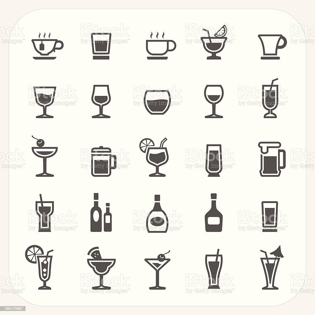 Drink and Beverage icons set vector art illustration