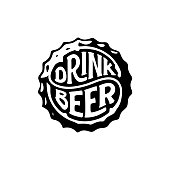 Drink Beer circle calligraphy on beer cap. Handwritten circular lettering for greeting cards, posters, prints or home decorations. Vector illustration