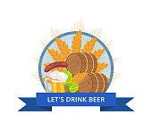 Drink Beer Oktoberfest Logo Vector Illustration