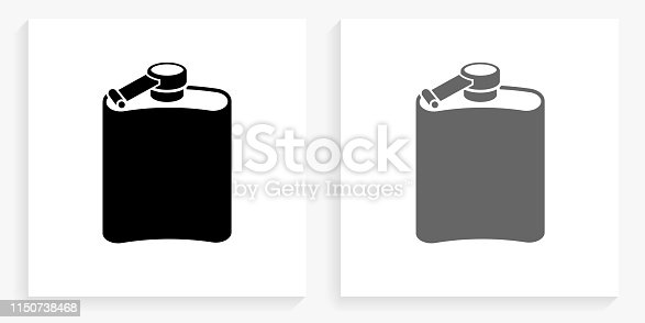 Drink Black and White Square Icon. This 100% royalty free vector illustration is featuring the square button with a drop shadow and the main icon is depicted in black and in grey for a roll-over effect.