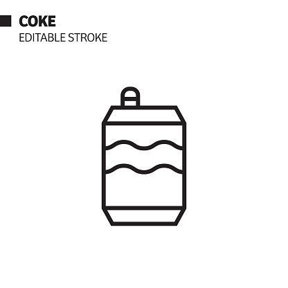 Drink Can Line Icon, Outline Vector Symbol Illustration. Pixel Perfect, Editable Stroke.