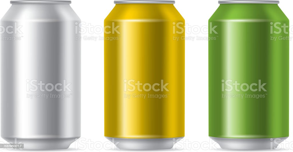 Drink cans vector art illustration