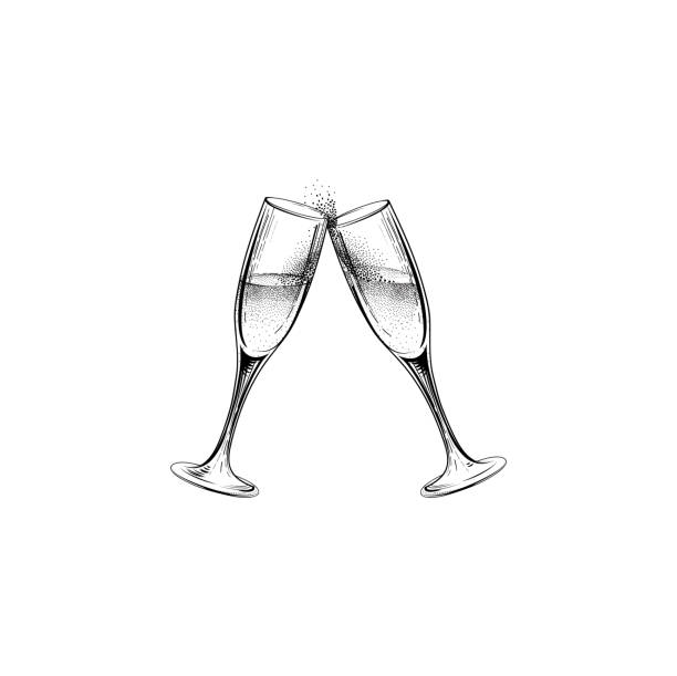 Drink champagne sign. Christmas party icon with clinking wine gl vector art illustration