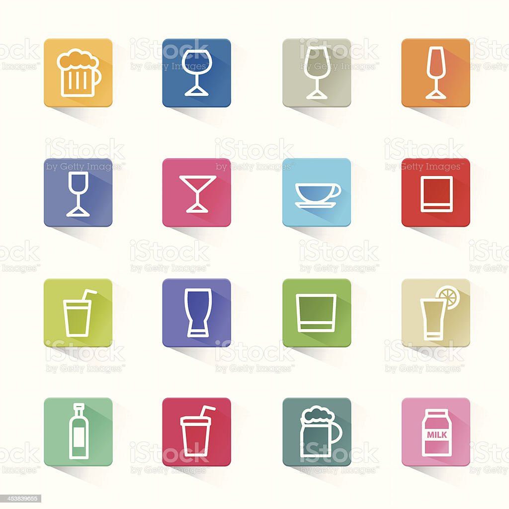 Drink cocktail flat icons set and white background royalty-free drink cocktail flat icons set and white background stock vector art & more images of alcohol