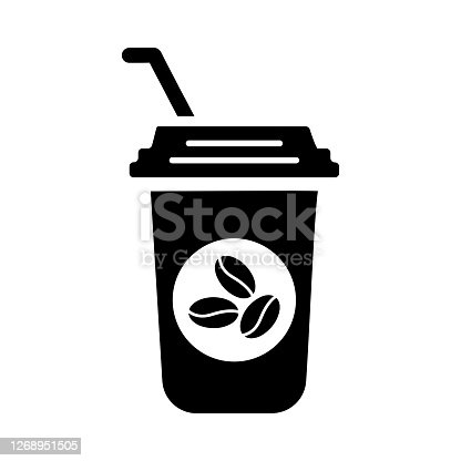 istock Drink, coffee icon, Black vector is isolated on a white background 1268951505
