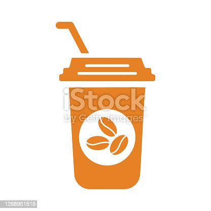 istock Drink, coffee icon, Orange vector is isolated on a white background 1268951515