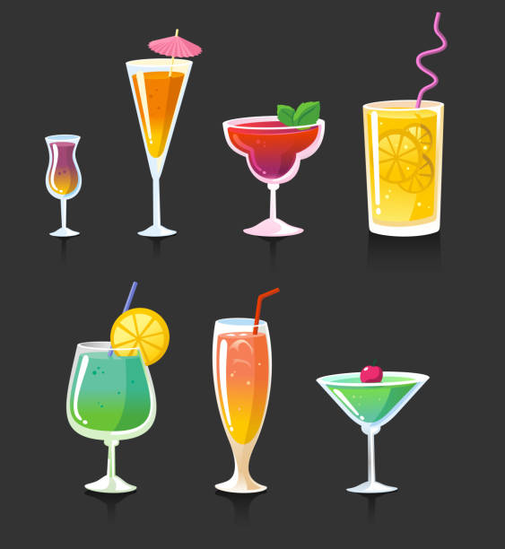 Trinken cocktail-Gläser und Getränke, Alkohol – Vektorgrafik