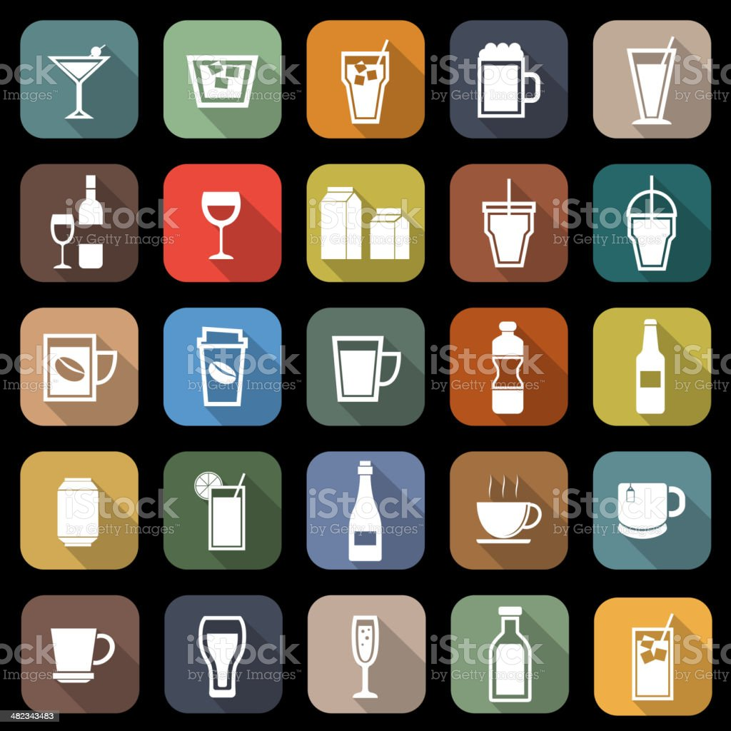 Drink flat icons with long shadow royalty-free stock vector art