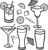 Selection of glasses and accessories for your vector enjoyment. See my profile for more food and beverage illustrations!