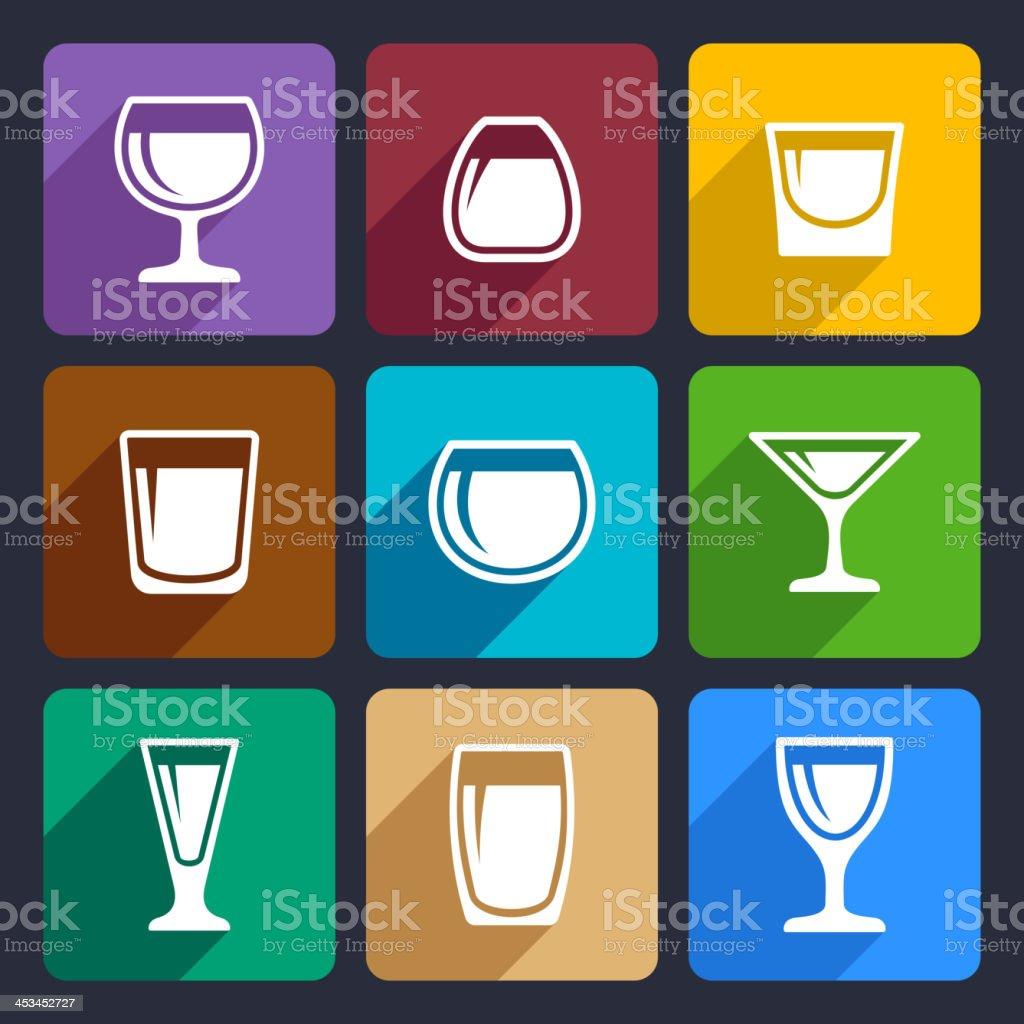Drink glasses icons set 16 vector art illustration