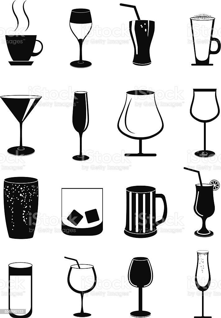 Drink glasses icons set vector art illustration