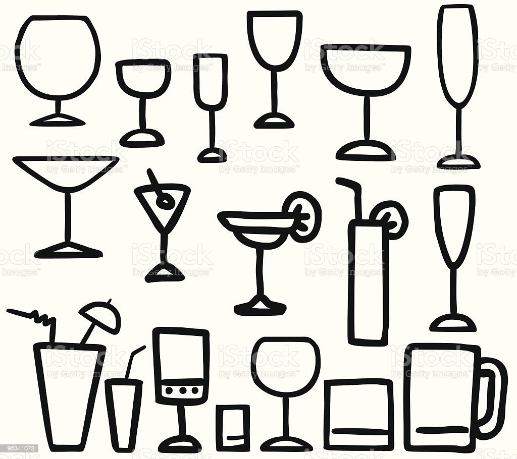 Drink Glasses ilustration royalty-free stock vector art