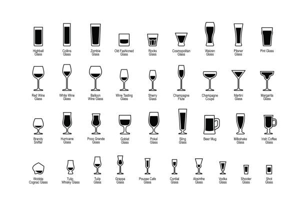 Drink glasses with titles, black and white icons set Drink glasses with titles, black and white icons set beer glass stock illustrations