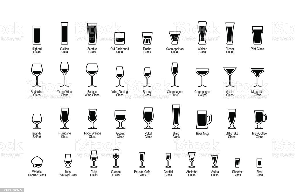 Drink glasses with titles, black and white icons set vector art illustration
