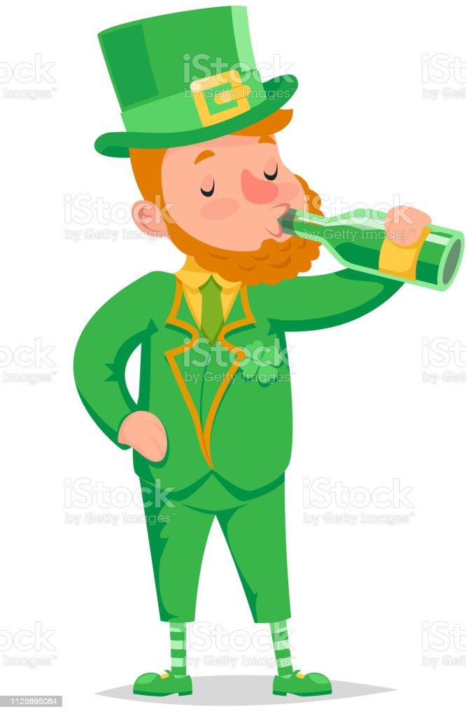 Drink green beer leprechaun saint patrick day celebration clover green traditional wear costume icon cartoon character design vector illustration