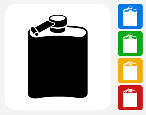 Drink Icon. This 100% royalty free vector illustration features the main icon pictured in black inside a white square. The alternative color options in blue, green, yellow and red are on the right of the icon and are arranged in a vertical column.
