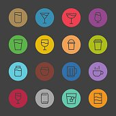 Drink Icon Set 1 Color Circle Line Series Vector EPS File.