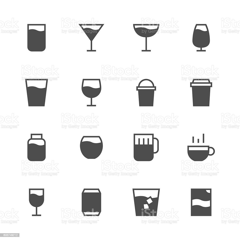 Drink Icon Set 1 - Gray Series vector art illustration