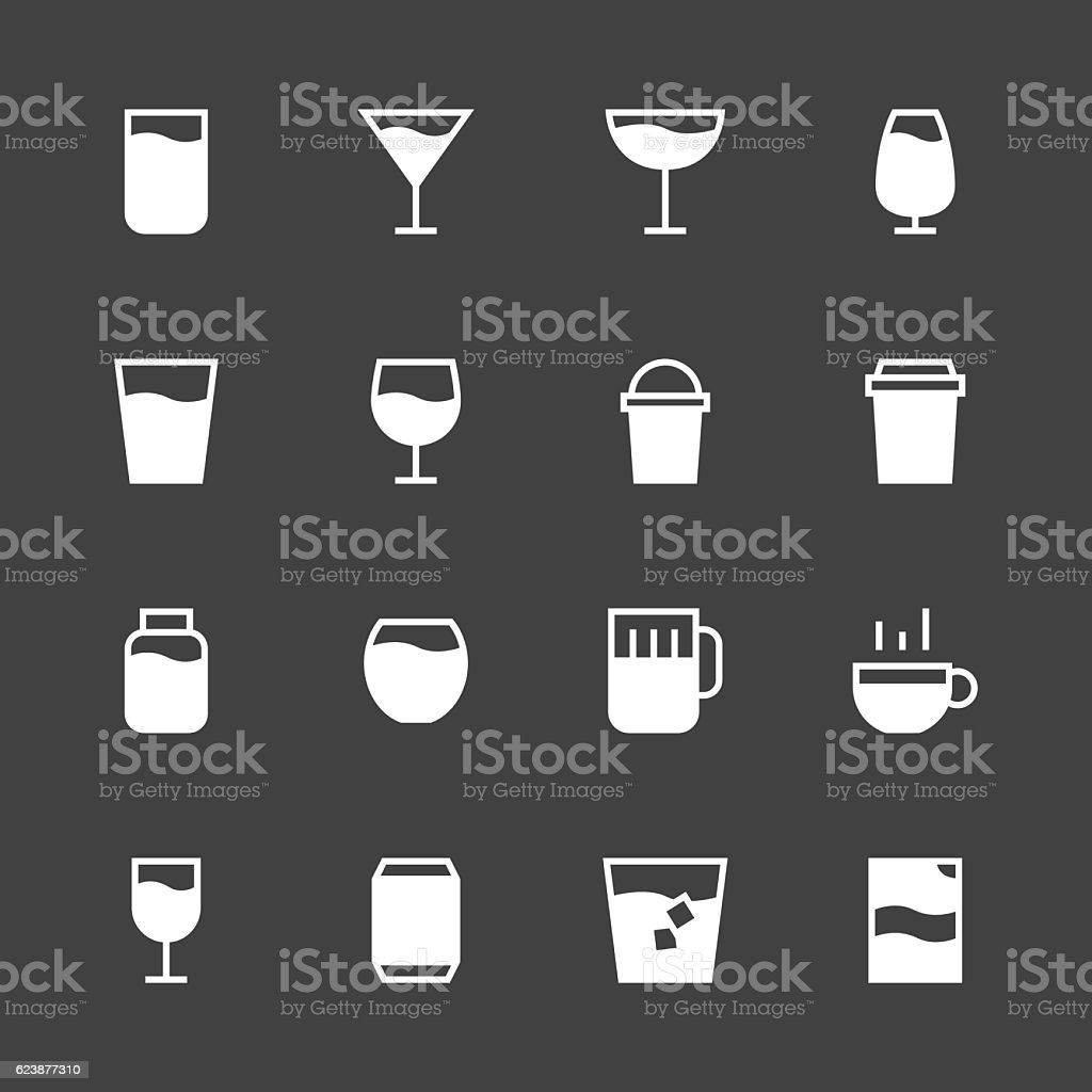 Drink Icon Set 1 - White Series vector art illustration