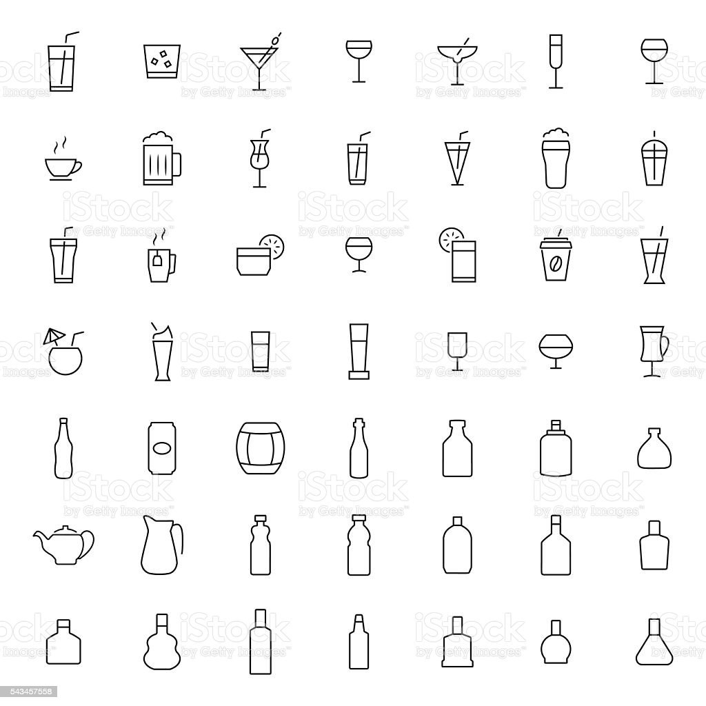 Drink icon set in thin line style - illustrazione arte vettoriale