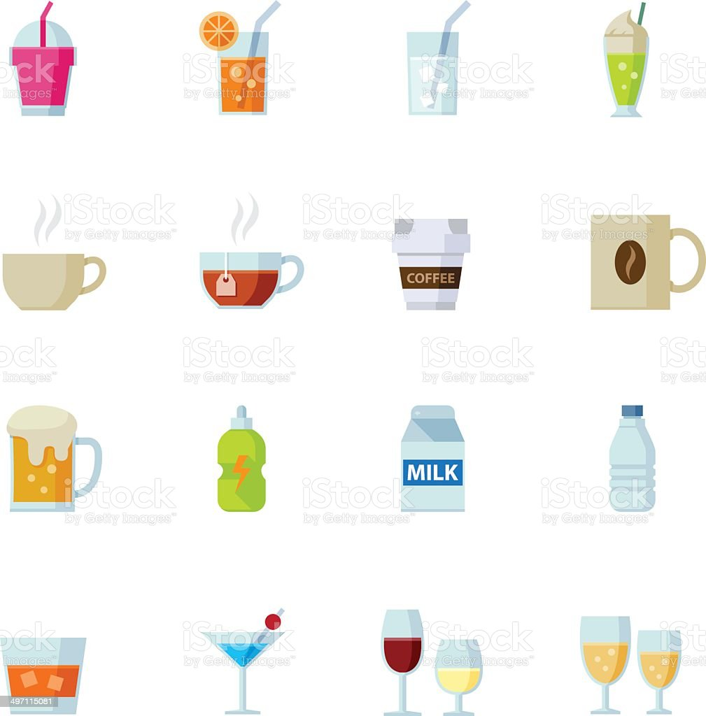 Drink icons and Beverages Icons royalty-free stock vector art