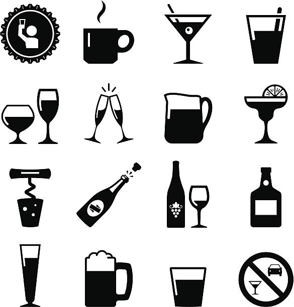 drink icons - black series - happy hour stock illustrations, clip art, cartoons, & icons