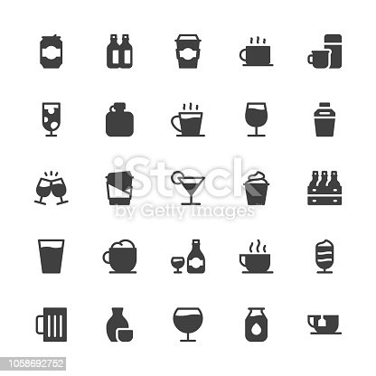 Drink Icons Set 1 Gray Series Vector EPS File.