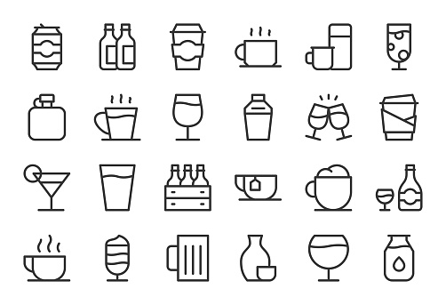 Drink Icons Set 1 - Light Line Series