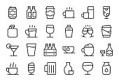 Drink Icons Set 1 Light Line Series Vector EPS File.
