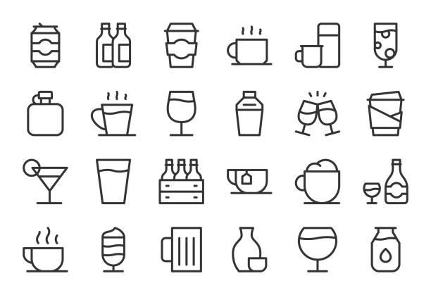 bildbanksillustrationer, clip art samt tecknat material och ikoner med dricka ikoner set 1 - ljus line serien - glas