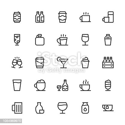 Drink Icons Set 1 Line Series Vector EPS File.