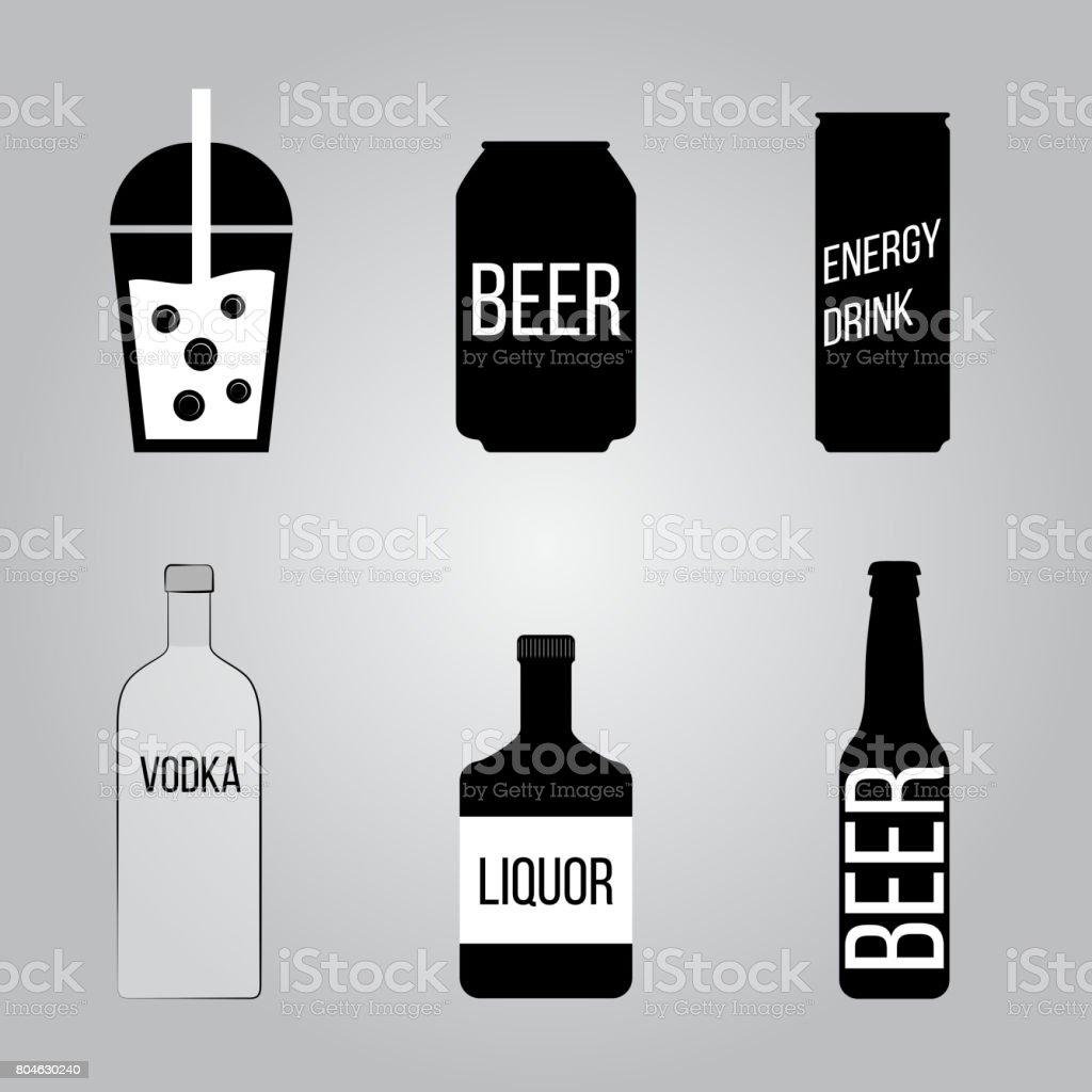 Drink icons set. vector art illustration