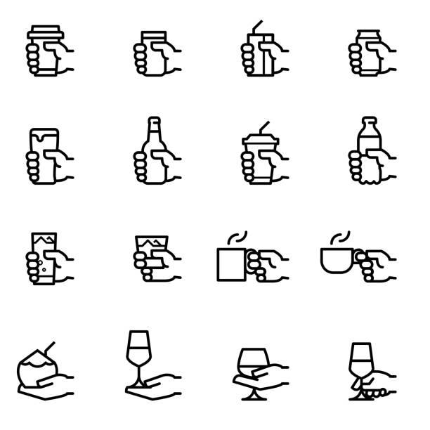 ikony napojów - bar lokal gastronomiczny stock illustrations