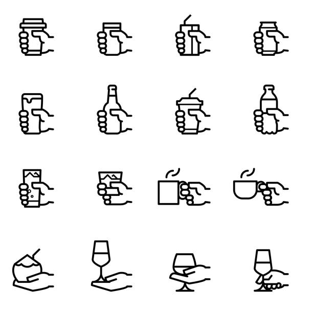 drink icons - bar lokal gastronomiczny stock illustrations